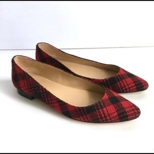 Red&Black Plaid Holiday Flannel Flats from Talbots